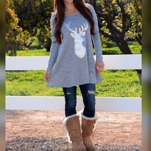 Marled Grey Sequin Deer Tunic. Size Large.